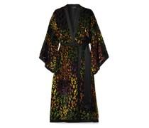 Suki Satin-trimmed Flocked Crepe De Chine And Chiffon Wrap-effect Dress