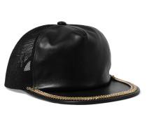 Mesh-paneled Embellished Leather Cap Schwarz