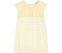Lace-trimmed Gingham Georgette Top Pastellgelb