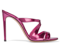 Mirrored-leather Sandals Magenta