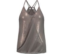 Silk-chiffon And Sequined Jersey Camisole Champignon