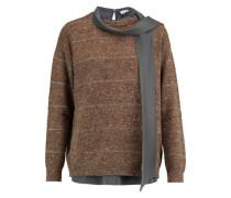 Layered striped wool-blend sweater