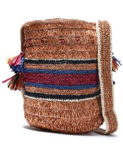 Tasseled Raffia Bucket Bag Light Brown Size --