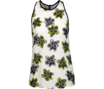 Marie Floral-print Silk Crepe De Chine Tank Top Elfenbein