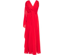 Ruched Draped Silk-crepe Gown