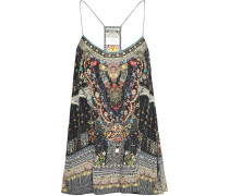 Woman Lovers Retreat Crystal-embellished Printed Silk Crepe De Chine Camisole Black