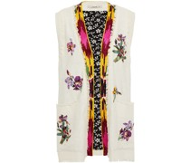 Frayed Embellished Silk Vest
