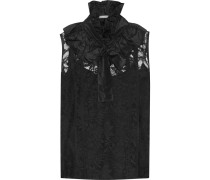 Pussy-bow Silk-trimmed Lace Top Schwarz