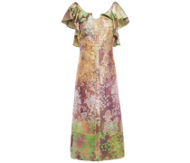 Ruffle-trimmed Button-embellished Brocade Midi Dress