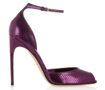 Oriana Metallic Watersnake Sandals Brombeere