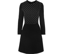 Woman Faux Pearl-embellished Smocked Wool-blend Crepe Mini Dress Black