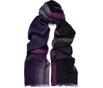 Frayed Intarsia-knit Wool Scarf Mehrfarbig