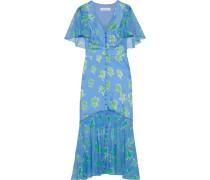 Woman Printed Chiffon-paneled Silk-twill Midi Dress Light Blue