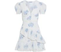 Angelica Gestuftes Minikleid aus Baumwolle mit Floralem Print und Lochstickerei