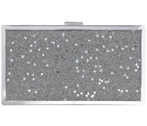 Frame Sequin-embellished Glittered Acrylic Box Clutch Silver Size --