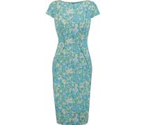 Printed Stretch-jacquard Dress Hellblau