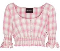 Cropped Shirred Checked Cotton-broadcloth Top