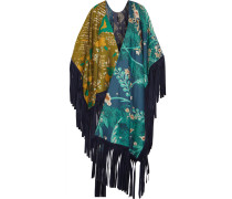 Reversible Suede-fringed Printed Cotton And Silk-blend Wrap Mehrfarbig