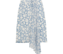 Balfour Printed Silk-georgette And Crepe De Chine Skirt Himmelblau