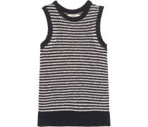 Garey Striped Knitted Cotton-blend Tank Navy