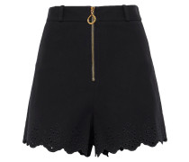 Broderie Anglaise-trimmed Stretch-cotton Shorts