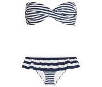 Ruffled striped bandeau bikini