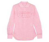 Ruffle-trimmed gingham cotton-poplin shirt
