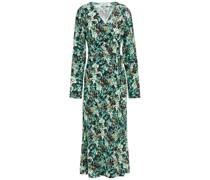 Floral-print Crepe Midi Wrap Dress