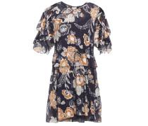 Kleid aus Chiffon aus Einer Seiden-baumwollmischung mit Floralem Print in Metallic-optik