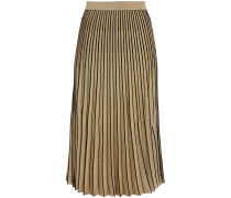 Pleated Metallic Stretch-knit Midi Skirt