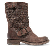 Jenna Distressed Leather Boots Braun