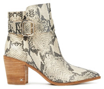 Leonia Snake-effect Leather Ankle Boots