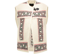 Diva Oversized Wool-blend Jacquard Vest Ecru
