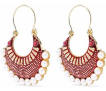 Gold-tone faux pearl and enamel earrings