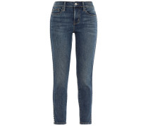 Woman Studded Mid-rise Skinny Jeans Mid Denim