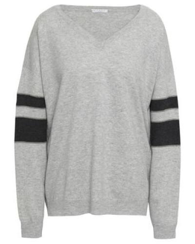 Mélange Striped Cashmere Sweater Light Gray