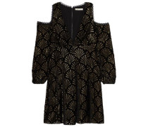 Cold-shoulder lamé devoré-velvet mini dress
