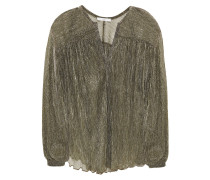 Gathered Metallic Jersey Blouse