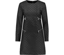 Zip-embellished faille mini dress