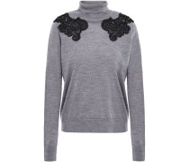 Guipure Lace-trimmed Wool Turtleneck Sweater