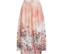 Aphelieia Printed Cupro-blend Satin-jacquard Midi Skirt