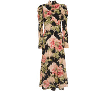 Ruched Floral-print Stretch-silk  Midi Dress