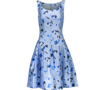 Pleated Printed Silk And Cotton-blend Dress Himmelblau