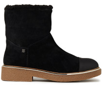 Fay Faux Shearling-lined Suede Ankle Boots