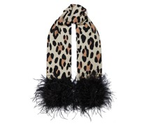 Theda Feather-trimmed Leopard-jacquard Cashmere Scarf