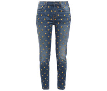 Woman The Stiletto Cropped Embroidered Mid-rise Skinny Jeans Mid Denim