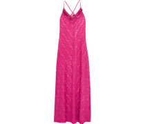 Metallic Crochet-knit Maxi Dress Fuchsia