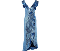 Wrap-effect Ruffle-trimmed Sequined Crepe Midi Dress