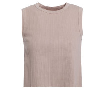 Cropped Ribbed Stretch Cotton And Modal-blend Jersey Top