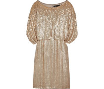 Cape-effect sequined silk mini dress
